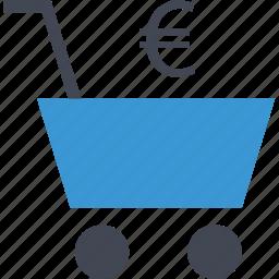 cart, euro, shop, shopping, sign icon