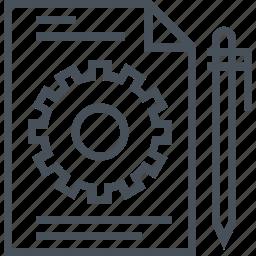 cog, content, document, gear, management, pen, system icon