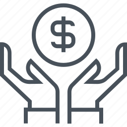 coin, dollar coins, earn money, hands, money currency, payment, wealth icon