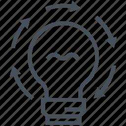 bulb, creative, creativity, idea, idea generation, light, radial icon