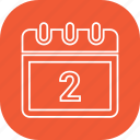 calander, date, month, schedule, two icon