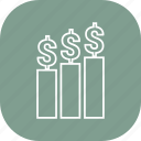 bar, bar chart, chart, diagram, dollar, growth icon