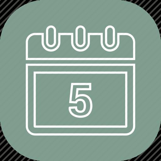 calander, date, five, month, schedule icon
