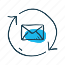 communication, conversation, email, message, receive, send, synchronization icon