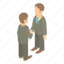 agreement, business, businessman, cartoon, handshake, partnership, people icon