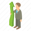 arrow, business, businessman, cartoon, person, uccess, up icon