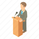 businessman, cartoon, office, podium, presentation, talk, tribune icon
