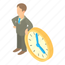 business, businessman, cartoon, clock, man, person, time
