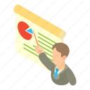 business, businessman, cartoon, chart, finance, graph, growth icon