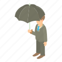 business, businessman, cartoon, concept, male, man, umbrella icon