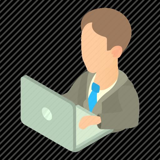 businessman, cartoon, computer, male, man, office, worker icon