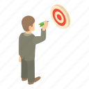 arrow, business, businessman, businessmen, cartoon, success, target icon