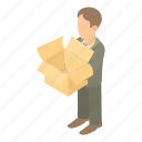 box, business, businessman, cartoon, man, person, suit