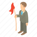 business, businessman, cartoon, flag, male, man, person