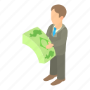 businessman, cartoon, cash, dollar, finance, money, success icon