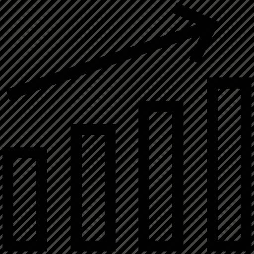 ascendant arrow, bars graphic, business chart, business growth, business stats, progress chart icon