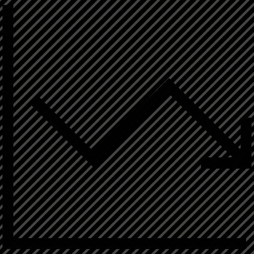 business chart, decrement, graph, graphic arrow, loss chart icon