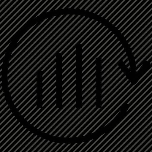analysis update, arrow circle, bar chart, bar graph, updating graph icon