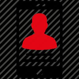 account, human, mobile, person, phone, profile, user icon