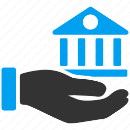 bank, business, finance, financial, hand, office, real estate icon