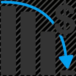 bankrupt, chart, down, fail, problem, report, sales icon