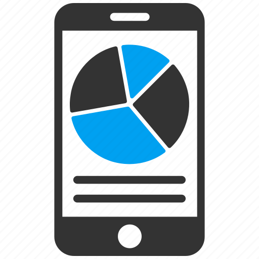 diagram, graph, mobile, phone, pie chart, report, statistics icon