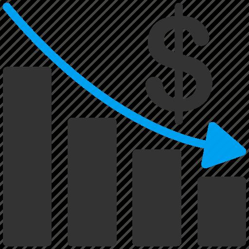 arrow, chart, finance, financial, market, money, problem icon
