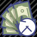 cash, encashment, history, money icon