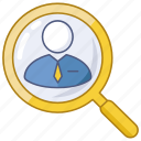 database, find, function, locate, person, search, search employee icon
