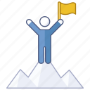 achieve, achievement, mountain, reach, success, summit, victory icon