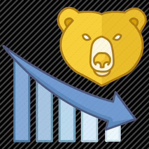 bear market, decreasing, economy, finance, financial, market, weak icon