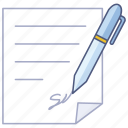 agreement, business, contract, letter, permission, signature, signed icon
