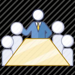 board, boardroom, company, investor, meeting, presentation icon
