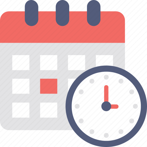 appointment, calendar with clock, meeting, schedule, timetable icon