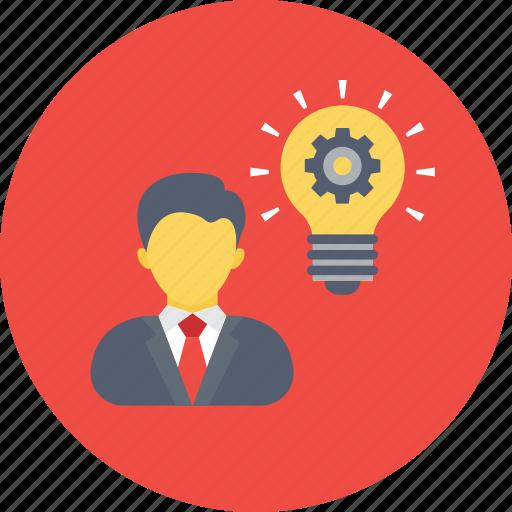 bulb idea, business idea, business minded, innovative, intelligent icon