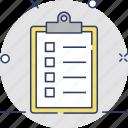 checklist, memo, list, plan, file