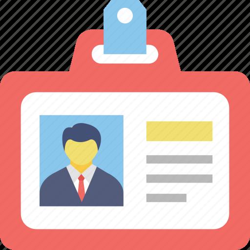 id card, identity, membership id, name tag, student card icon