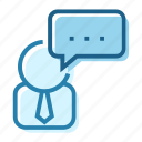 business, chat, commenter, communicate, conversation, person, speech icon