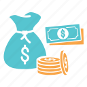cash, cash sack, coins, dollars, money, paper icon