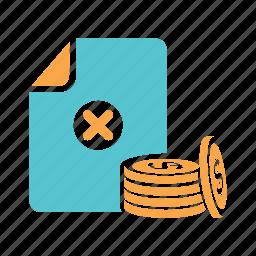 coins, failed transaction, failed withdrawal, rejected transactions, transaction, withdraw money icon