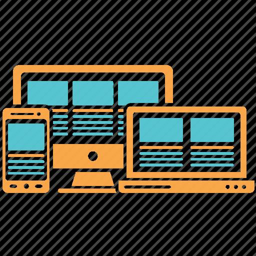 computer, design, responsive, responsive design, web design icon