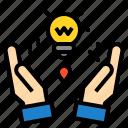 business, finance, hand, idea, management, marketing, money icon
