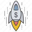 career, career growth, job promotion, progress, rocket, startup, success icon
