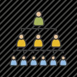 hierarchy, leadership, management, personnel, staff, teamwork, workforce icon