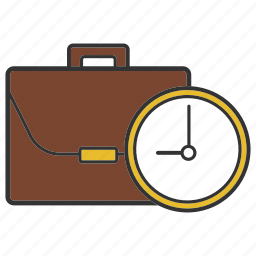 business schedule, deadline, documents, portfolio, suitcase, time, timer icon