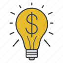 business idea, dollar, innovation, investment, light bulb, money, solution icon