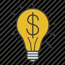 business idea, dollar, innovation, investment, light bulb, money, solution icon