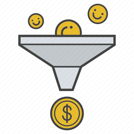 business, conversion, leads, marketing, money, sales, sales funnel icon