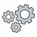 cogwheel, configuration, gears, machinery, mechanism, process, teamwork icon