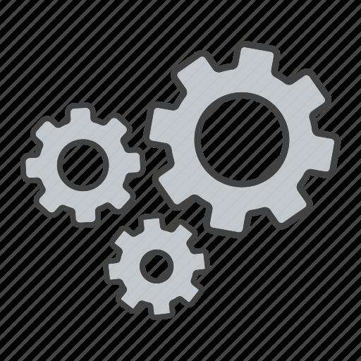 cogwheel, configuration, gears, machinery, mechanism, process, teamwork icon